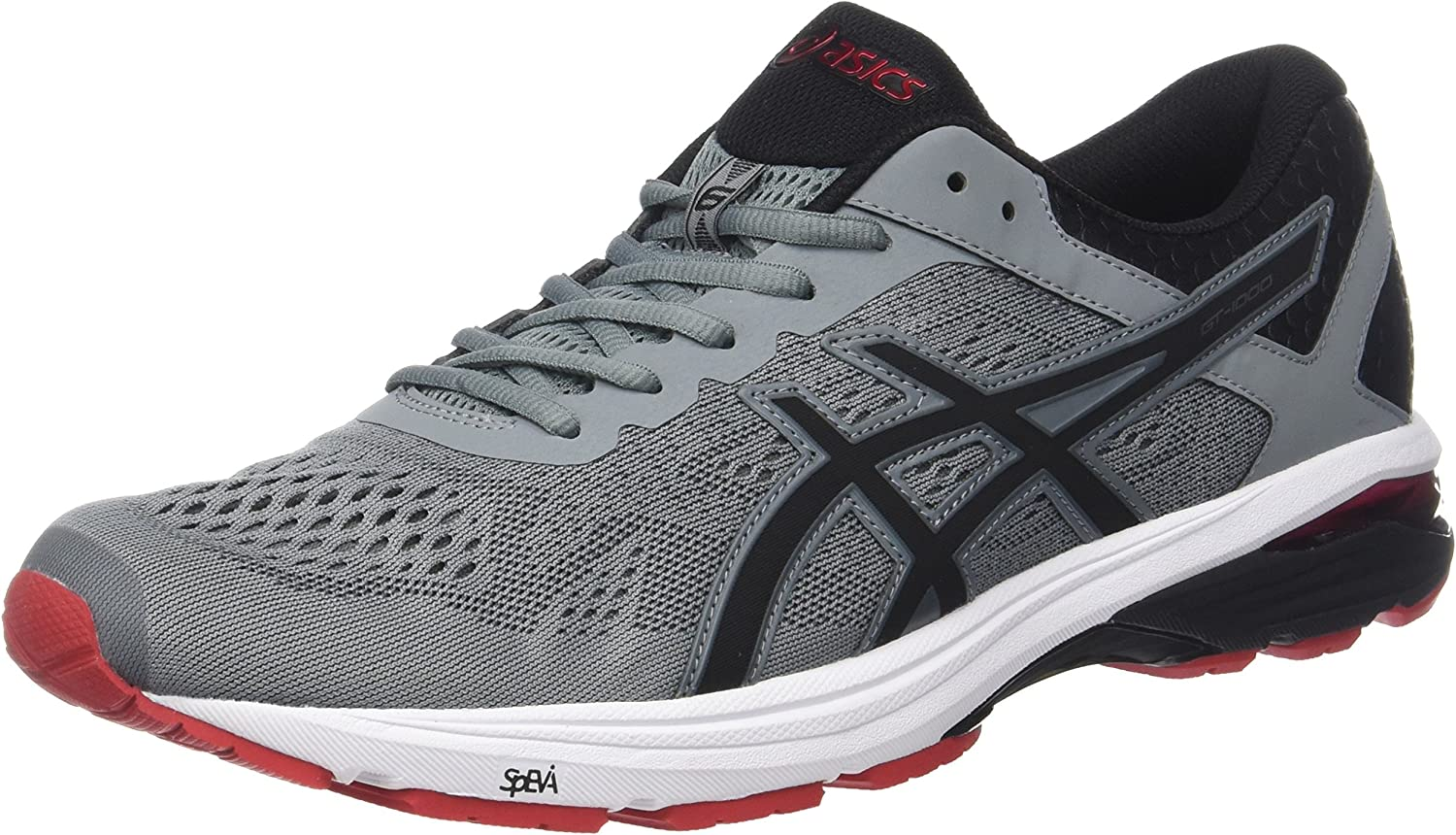 ASICS Men's GT-1000 6, Stone Grey Black Classic Red