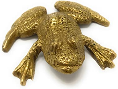 Madison Bay Company Antiqued Brass Mini Textured Frog Paperweight, 2.75 Inches Wide