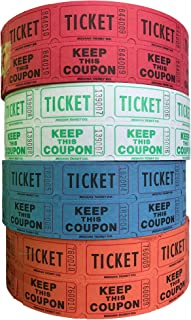 Raffle Tickets - (4 Rolls of 2000 Double Tickets) 8,000 Total 50/50 Raffle Tickets (Red/Lime/Blue/Orange)