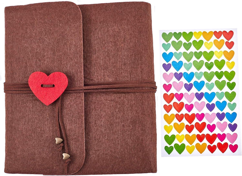 CRASPIRE Felt Cover Scrapbook Photo Brown Sale price Patte Ranking TOP15 Heart with Album