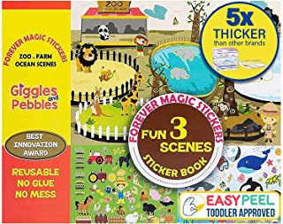 Giggles & Pebbles Educational Magic Sticker Pad Book for Kids,Toddlers, Boys and Girls - Reusable, Washable and Non-Adhesi...