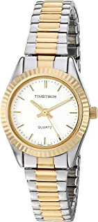 Viva Time Women's 'Timetech Stretch Bracelet' Quartz Stainless Steel Casual Watch, Color:Two Tone (Model: 2657L)