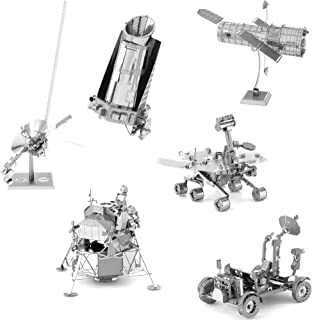 Fascinations Metal Earth Space 3D Metal Model Kits -Hubble Telescope - Apollo Lunar Rover - Apollo Lunar Module - Mars Rover - Kepler Spacecraft - Voyager - Set of 6