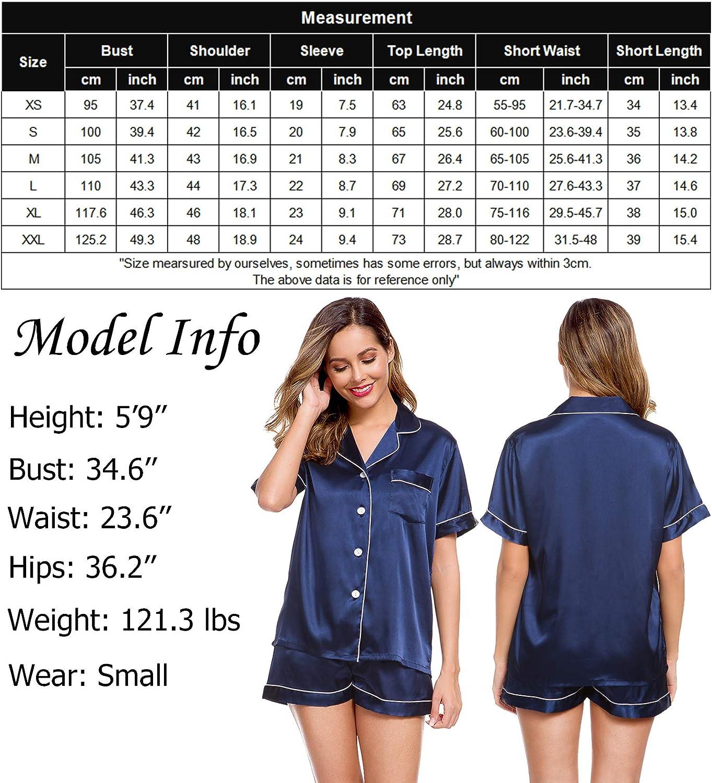 LecGee Womens Silk Satin Pajamas Short Sleeve Loungewear Two-Piece Sleepwear Button-Down Pj Set