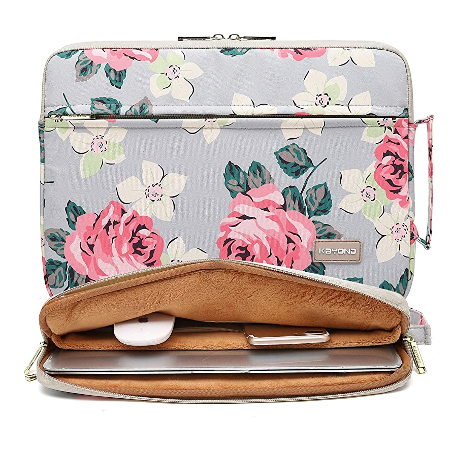 KAYOND Nylon Fabric 15.6 Inch Laptop Sleeve case for 15 inch 15.4 inch 15.6 inch Notebook Computer (15-15.6 INCH, Grey Rose)