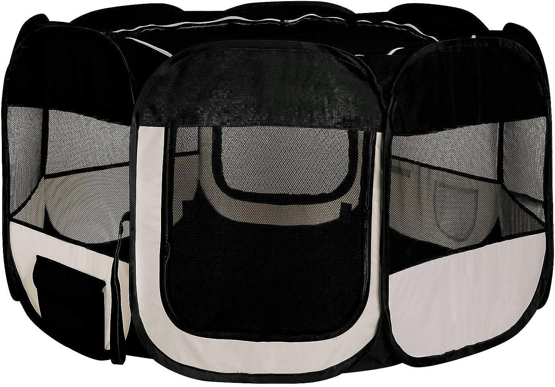 Dibea Pp00255 Puppy Play Pen Outdoor Enclosure for Indoor and Outdoor Use Black Beige