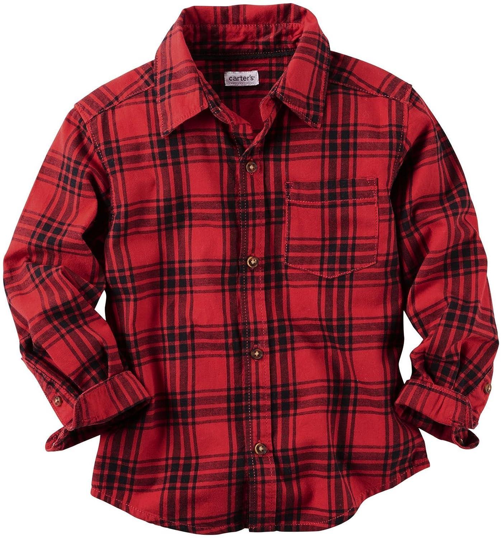 Carter 's Boys ' 2t-8長袖フランネルボタンダウンシャツ