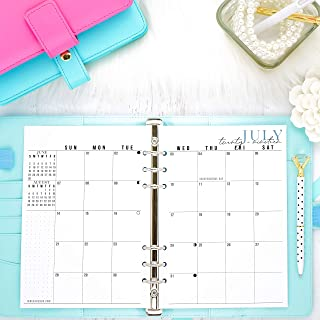 2020 Monthly Dated Planner Inserts | Refill Pages For A5 Size Planners | Sunday Start | 5.83x8.27 | Size 5