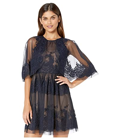 BCBGMAXAZRIA Lace Dress with Overlay Cape Detail (Dark Navy) Women