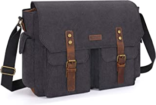 MOSISO Camera Bag 15.6 inch, Vintage DSLR/SLR/Mirrorless Photography Case Canvas Messenger Crossbody Shoulder Satchel with Laptop Compartment Compatible with Canon/Nikon/Sony/MacBook, Space Gray