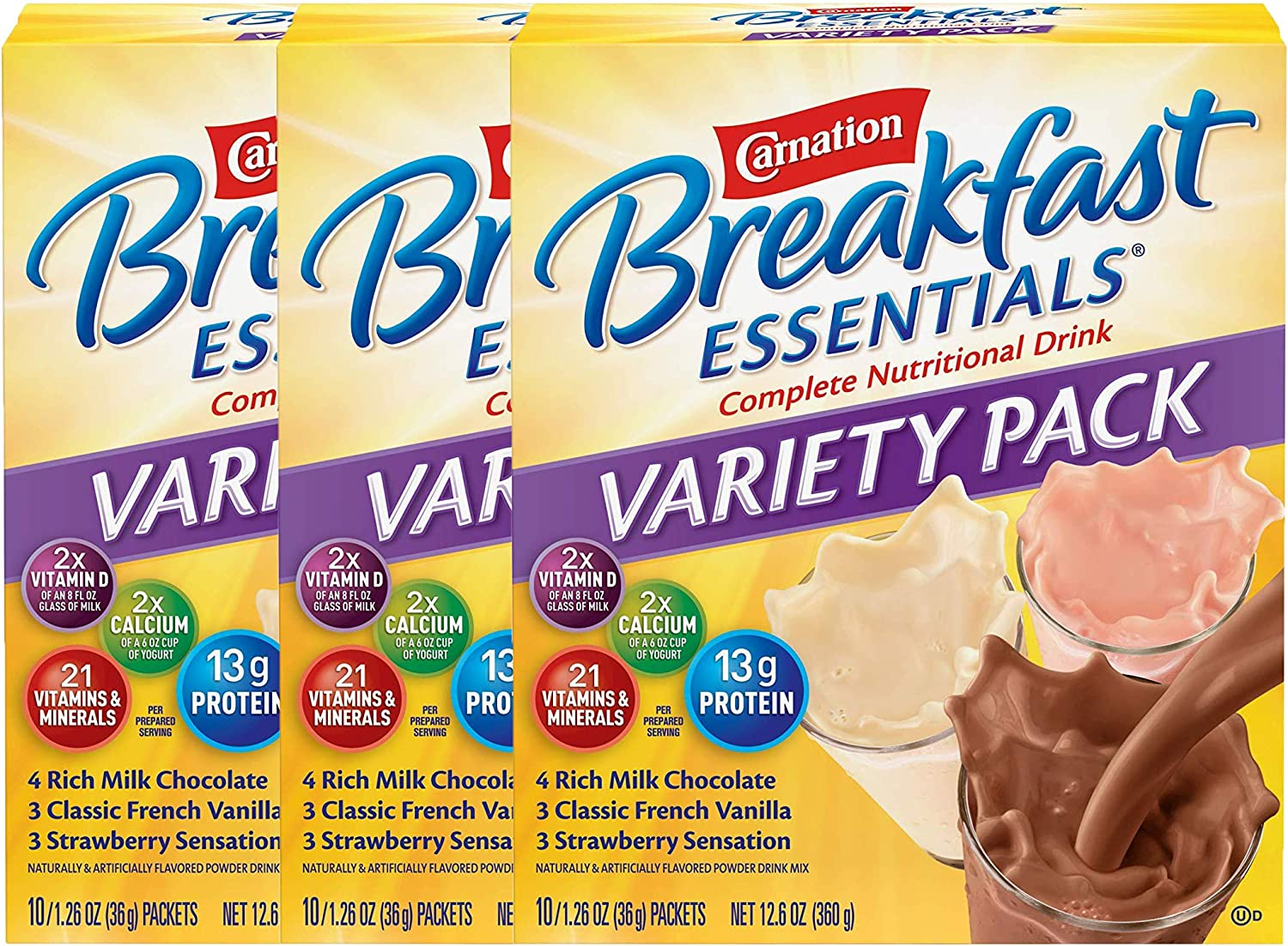 Carnation Breakfast Essentials Powder Drink Mix Variety Pack, Complete Nutritional Drink, 10 Count Box of 1.26 oz Packets (Pack - 3)