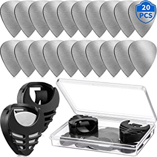 20 Pieces Metal Guitar Picks Plectrums Stainless Steel Picks Guitar Pick Holder Black With Picks Storage Case for Electric...