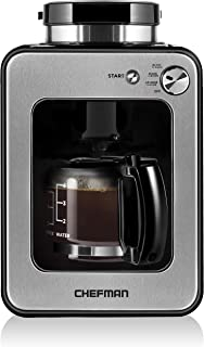 Chefman Grind and Brew 4 Cup Maker and Grinder Compatible w Beans and Grounds, Adjustable Strength Settings, Washable Coffee Filter Included, Compact, Black/Stainless Steel
