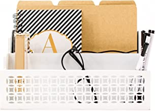 Blu Monaco Wooden Mail Organizer - 2 Tier White Desk Organizer - with Cutout Trellis Design - Rustic Country Letter Sorter - Kitchen Counter Organizer File Folder Holder