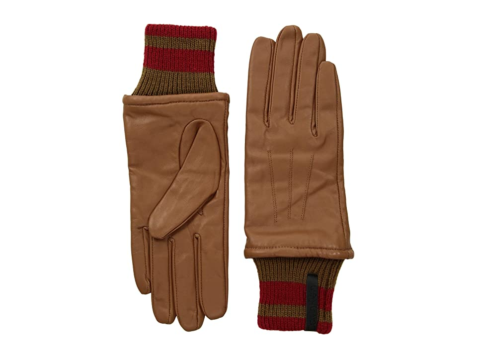 Calvin Klein Leather Gloves w/ Striped Knit Cuff (Camel) Extreme Cold Weather Gloves