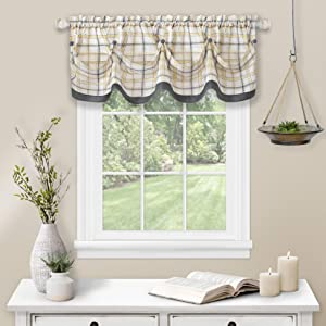 Achim Home Furnishings Tuck Valance with Buttons Tattersall Window Curtain, 58