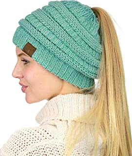 Best BeanieTail Soft Stretch Cable Knit Messy High Bun Ponytail Beanie Hat Review