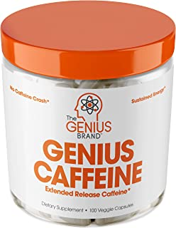 Genius Caffeine, Extended Release Microencapsulated Caffeine Pills, All Natural Non-Crash Sustained Energy & Focus Supplement, Preworkout & Nootropic Brain Booster For Men & Women,100 Count
