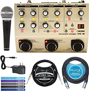 BOSS VE-8 Acoustic Singer Guitar/Vocal Processor Bundle with AC Adapter, Samson R21S Cardioid Dynamic Microphone, Blucoil 10-FT Mono Instrument Cable, 10-FT Balanced XLR Cable, and 5x Cable Ties