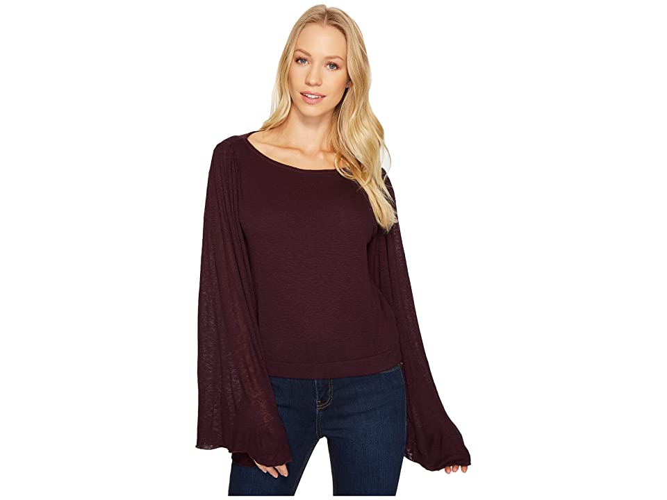 Three Dots Luxe Slub Crop Top (Aubergine) Women