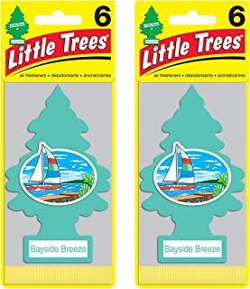 Little Trees Cardboard Hanging Car, Home & Office Air Freshener, Bayside Breeze (Pack of 12)