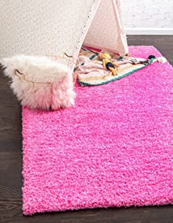 Unique Loom Solo Solid Shag Collection Modern Plush Taffy Pink Area Rug (5' 0 x 8' 0)