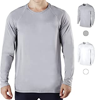 Men's Sun Shirt UPF 50+ UV Long Sleeve Quick-Dry Sun Protection Vented Outdoor Performance White and Grey 2 Pack