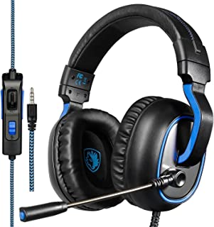 Stereo Gaming Headset PS4 Xbox One S, SADES SA920PLUS Noise Cancelling Over Ear Headphones with Mic, Bass, Soft Memory Ear...
