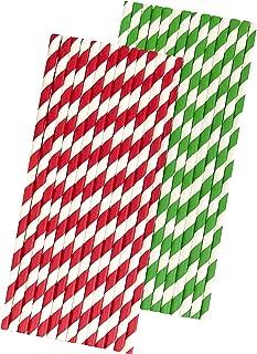 50 شفاطة ورقية لعيد الميلاد - أحمر أبيض وأخضر - شريط - 50 عبوة