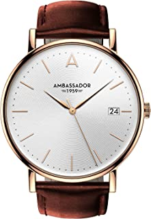 Ambassador Luxury Watch for Men - Designer Heritage 1959 Gold Case with Brown Leather Strap and Swiss Quality