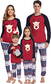Hawiton Pijamas de Navidad Familia Manga Larga, Ciervo Ajuste Delgado y Suave 2 Piezas Ropa de Dormir Conjunto Juego Homew...