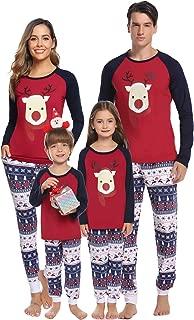 Family Christmas Pajamas Set Matching Xmas Deer Sleepwear Dad Mom Kids Holiday PJs