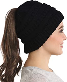 Ponytail Beanie Hat for Women - Winter Knit Hats with...
