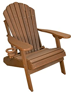 ECCB Outdoor Outer Banks Deluxe Oversized Poly Lumber Folding Adirondack Chair (Antique Mahogany)