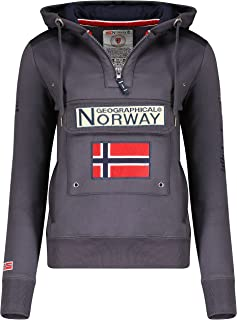 Geographical Norway GYMCLASS Lady - Sweat Femme Capuche Poches Kangourou - Sweatshirt Femmes Manche Pull Casual Manches Lo...