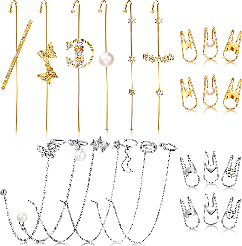 24 Pieces Ear Cuff Wrap Crawler Hook Earrings Ear Cuff Earrings Cuff Chain Earrings Simple Wrap Tassel Earrings Jewelry Hook Earrings for Women Girls