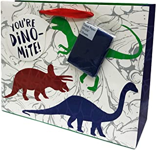 You're Dino-Mite Festive Colorful Dinosaur Themed Birthday Party Celebration Gift Bag with Blue Tissue Paper 13.25