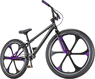 Black Panther Freestyle BMX Bike by Schwinn, Featuring Durable Steel Frame, Single-Speed Drivetrain, and 26-Inch Alloy Mag Wheels, Great for the Bike Park or Cruising the Neighborhood, in Black/Purple