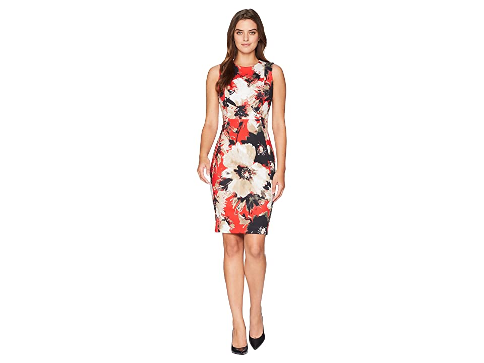 Calvin Klein Floral Print Sheath Dress CD8MV5LM (Fire Multi) Women