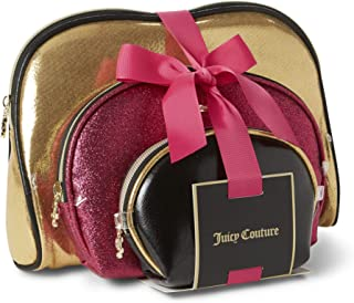 Juicy Couture Cosmetic Makeup Bags: Compact Travel Toiletry Bag Set in Small, Medium and Large for Women and Girls - Gold, Pink & Black