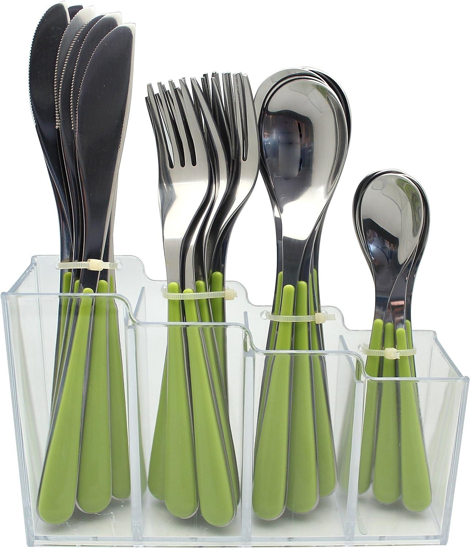 EXZACT Set de 24 Cubiertos de Acero Inoxidable con Estante de plástico – Mangos de Colores – 6 Tenedores, 6 Cuchillos, 6 cucharas, 6 cucharitas - Verde (EX153)