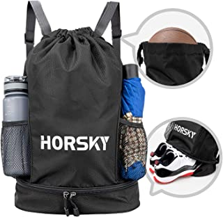 Horsky Drawstring Backpack Sports Dry Wet Separation Gym Bag with Shoes Compartment Sackpack for Men Women Children Heavy ...