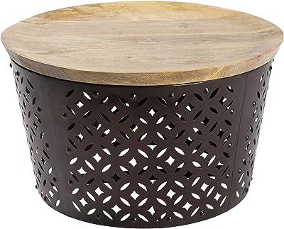 "Artistic Weavers Solapur Global Bohemian Natural/Black Center Table 23"" x 23"" x 13"", 13"" x 23"" x 23"""
