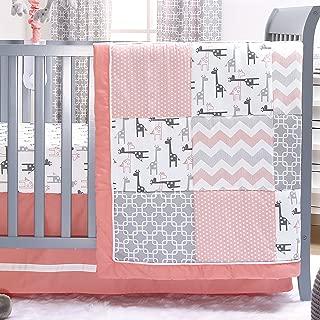 Uptown Girl Giraffe Patchwork 3 Piece Baby Crib Bedding Set by The Peanut Shell