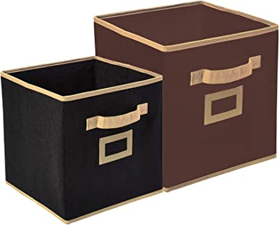 Heart Home Non Woven 2 Pieces Small & Large Foldable Storage Organiser Cubes/Boxes (Black & Coffee) - CTHH017027
