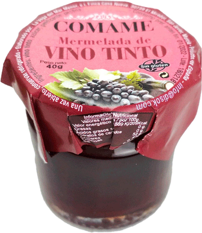 Mermelada VINO TINTO 40Gr - Mermeladas Baratas Originales para Detalles de Bodas, Recuerdos y Regalos
