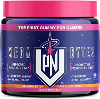 VPN Nootropic Gummies, Blood Orange - Mega Bytes - Elite Gaming Nootropic - Focus & Brain Booster Supplement - Caffeine Free - Focus Enhancer, React Quick, Eye & Vision Vitamins, Energy, 64ct