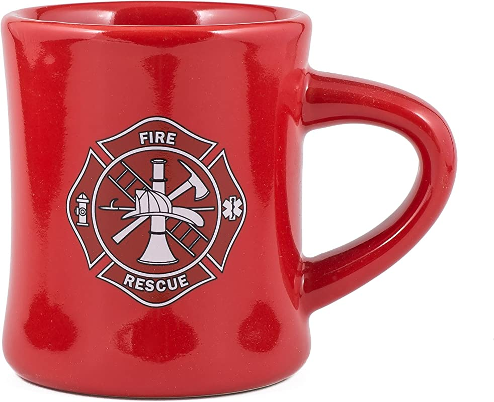 Fire Rescue Maltese Cross Firefighters Decal Red Stoneware Diner Mug Holds 10 Ounces