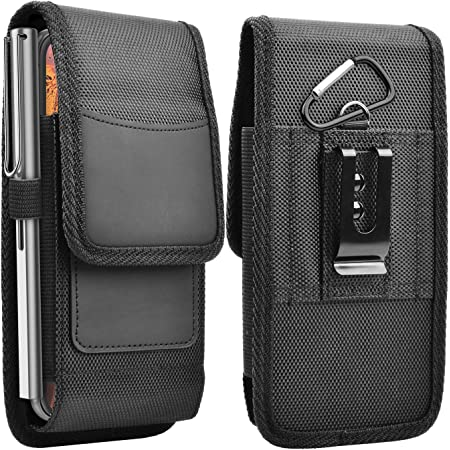 Njjex Cell Phone Holster for Samsung Galaxy S21 Ultra S20+ S10 S9 Note 20 A01 A10e A11 A20 A21 A51 A71 A12 A32 A42 A52 iPhone 12 Pro Max 11 XS XR 7 8 Stylo 6 Nylon Belt Clip Holster Phone Holder Pouch