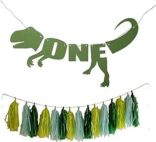 Dinosaur 1st Birthday Banner - DIY First Bday Trex Tyrannosaurus High Chair Banner Tissue Tassels by PinkFish Shop